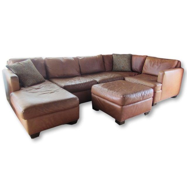 Custom Saddle Leather Sectional & Ottoman - Image 3 of 11