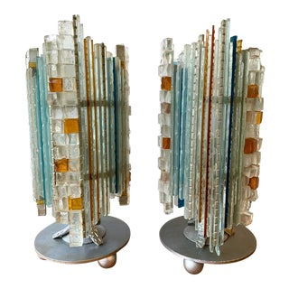 1970s Glass and Wrought Iron Lamps by Biancardi & Jordan Arte, Italy - a Pair For Sale
