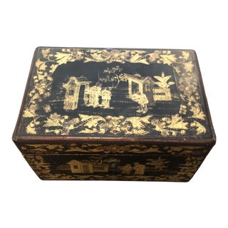 Chinoiserie Wood Tea Caddy For Sale