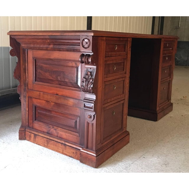 Mid 19th Century 19th Century Victorian Mahogamy Palm Impresionist Pedestal Desk For Sale - Image 5 of 8