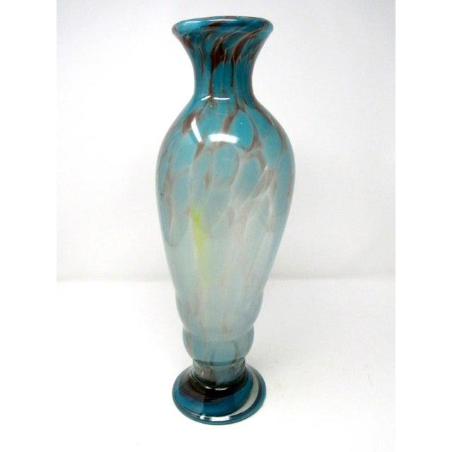 Vintage Hand-Blown Studio Art Glass Vase For Sale - Image 4 of 9