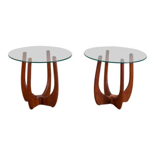 Adrian Pearsall Round Walnut Glass Top Side Tables - a Pair For Sale