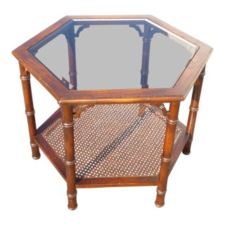 Vintage Mid-Century Modern Six Sided Two Tier Smokey Glass & Cane Coffee Table For Sale
