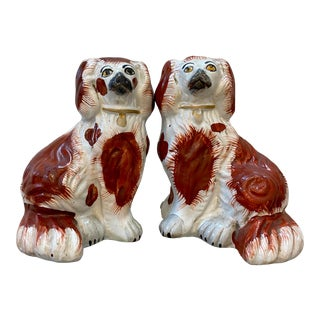 Vintage Staffordshire Porcelain King Charles Cavaliers - a Pair For Sale
