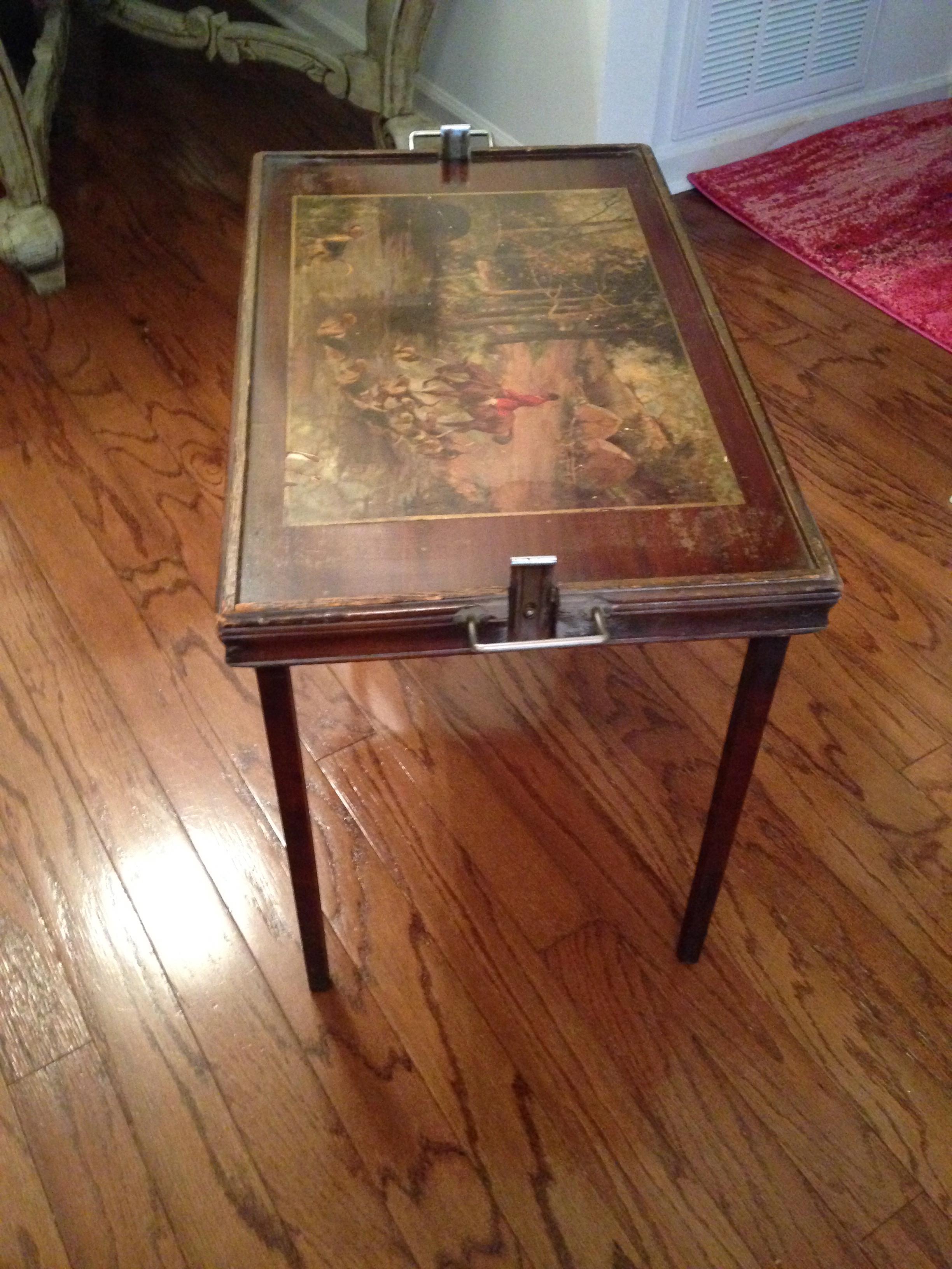 Vintage Hunting Scene Folding Tray Table   Image 2 Of 8