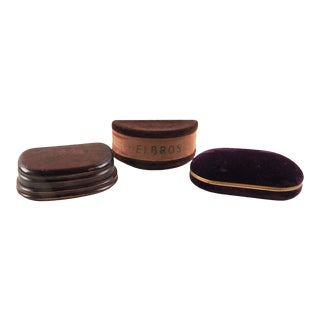 Vintage Velvet & Wood Deco Watch Boxes - Set of 3 For Sale
