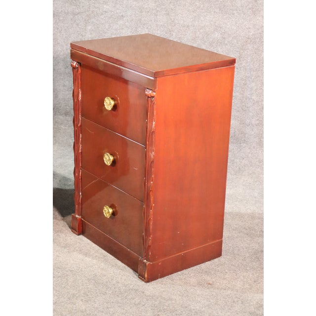 Pair of John Stuart Hollywood Regency Mahogany Nightstands Night Tables For Sale - Image 4 of 10