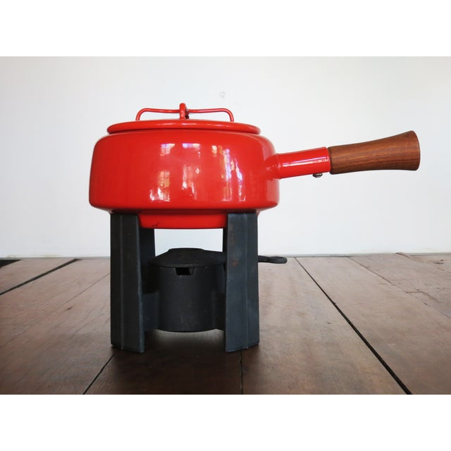 Danish Modern Dansk Kobenstyle Red Enamel Fondue Pot For Sale - Image 3 of 11