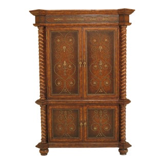 Maitland Smith Four-Door Leather & Tack Head Trim TV Cabinet / Armoire For Sale