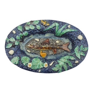19th C. Majolica Palissy Fish Platter For Sale