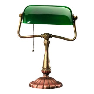Antique Green Shade Desk Lamp For Sale