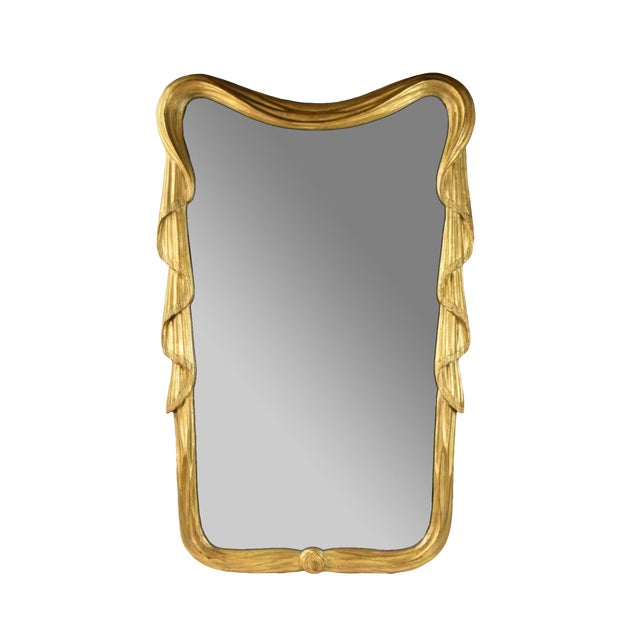 Stephen Cavallo NYC Carved Gilt Wood Draped Fabric Swags Mirror For Sale
