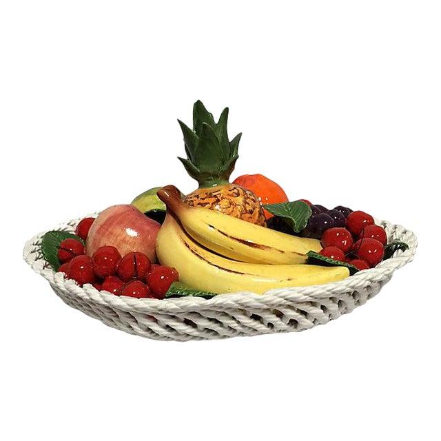Vintage Italian Majolica Fruit Basket For Sale