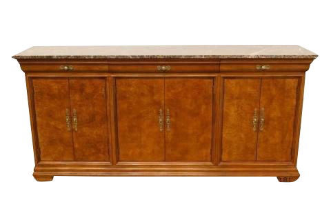 Late 20th Century Antique Hickory White Oak U0026 Burled Walnut Buffet