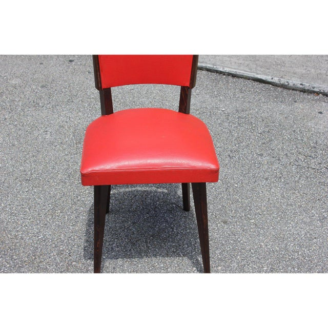 1940s Vintage French Art Deco Solid Mahogany Dining Chairs- Set of 5 For Sale - Image 11 of 13
