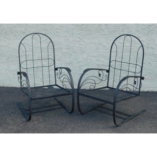 Quality Pair Vintage Black Wrought Iron Spring Base Garden Lounge Chairs Preview