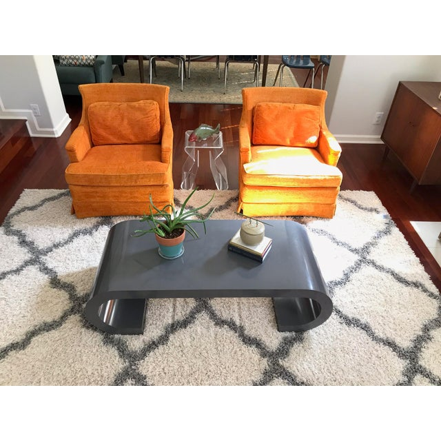 Mid-Century Modern Scroll Coffee Table Attributed to Karl Springer For Sale In Tampa - Image 6 of 11