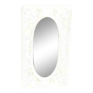 1940s Ivory Faux Rattan Wall Mirror For Sale
