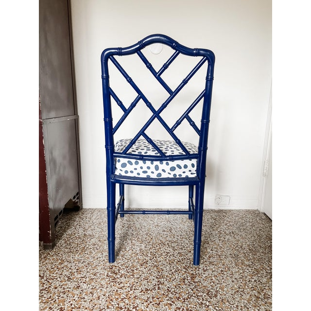 Wood 1960s Chinese Chippendale Style Century Furniture Navy Lacquer Faux Bamboo Chair For Sale - Image 7 of 13