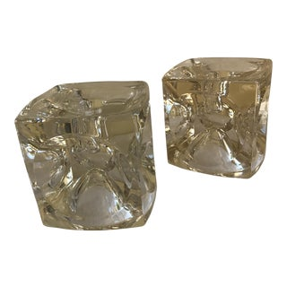 Artisan Geometric Glass Candle Holders - A Pair