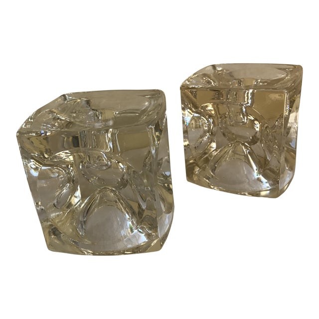 Artisan Geometric Glass Candle Holders - A Pair For Sale