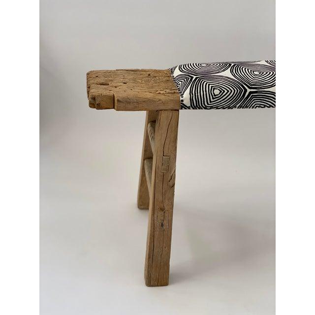 Vintage Shandong long bench upholstered in greige textiles Ward pattern Black on Oyster.