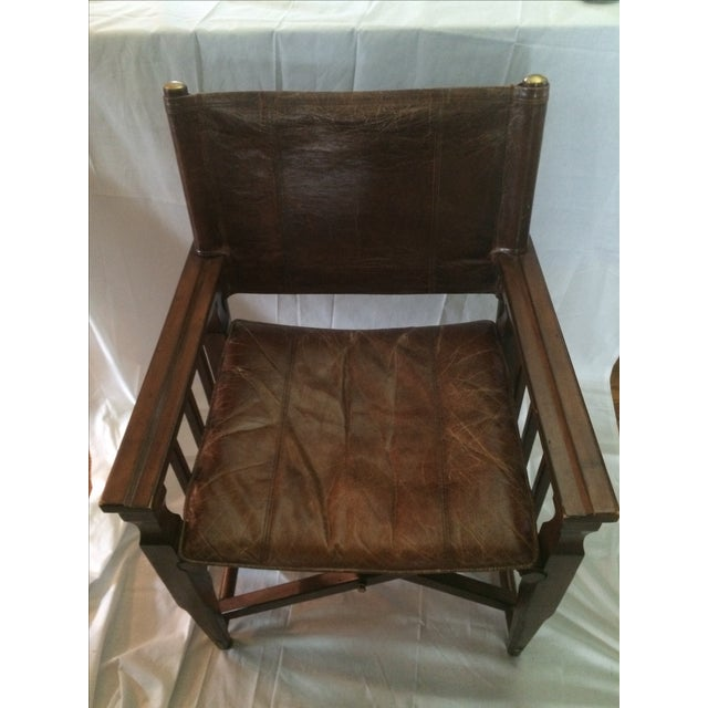 Mid-Century Modern Wood & Leather Sling Chair - Image 3 of 6