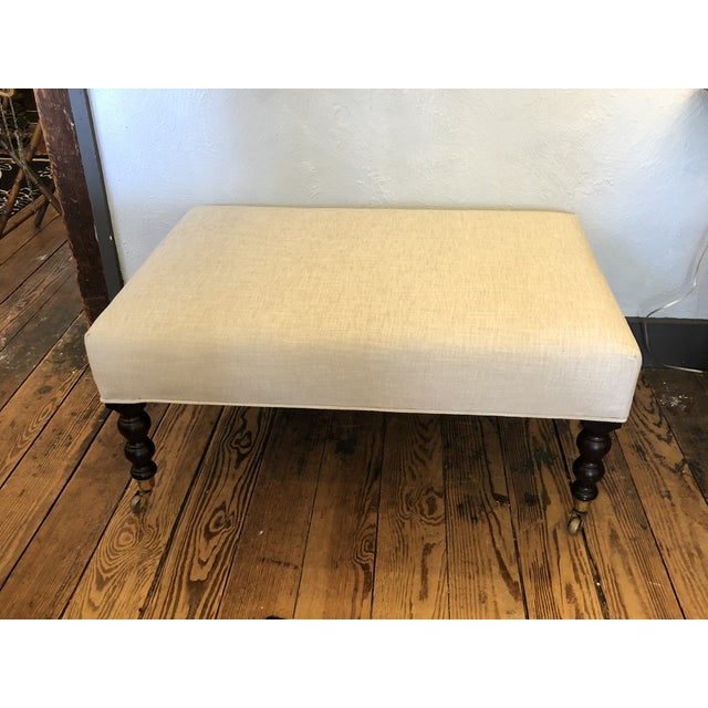 George Smith Style Chenille Ottoman Coffee Table For Sale - Image 9 of 9