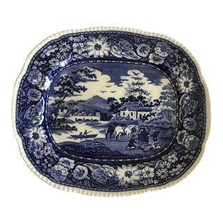 1930s Georgian Blue Floral Ironstone Large Platter For Sale