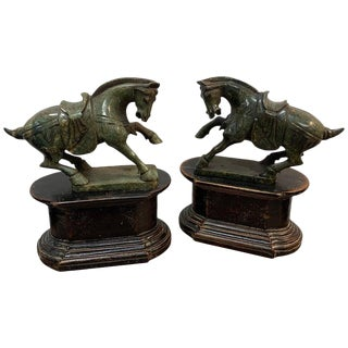 Pair of Chinese Export Hardstone Horses and Stands For Sale