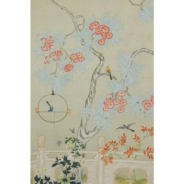 Stunning pair of chinoiserie flora and fauna hand-painted panels by Robert Crowder (American