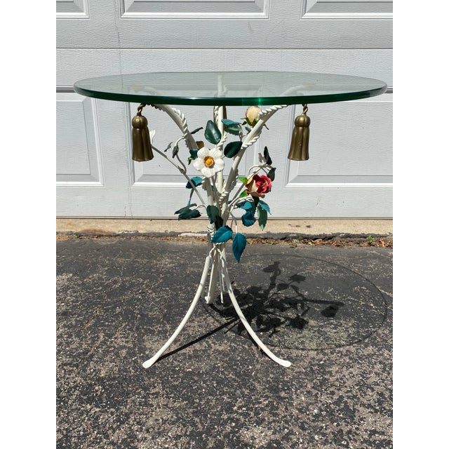 Vintage colorful Italian floral & gold tassel metal tole side table. White flowers, red roses, green leaves and gold...