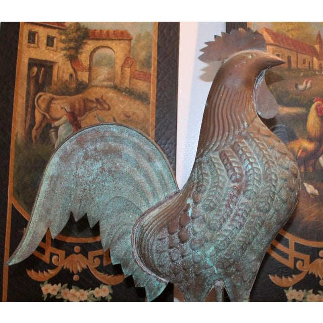 This fine copper rooster weather vane has a wonderful undisturbed surface and wear. There are minor dents or marks on the...