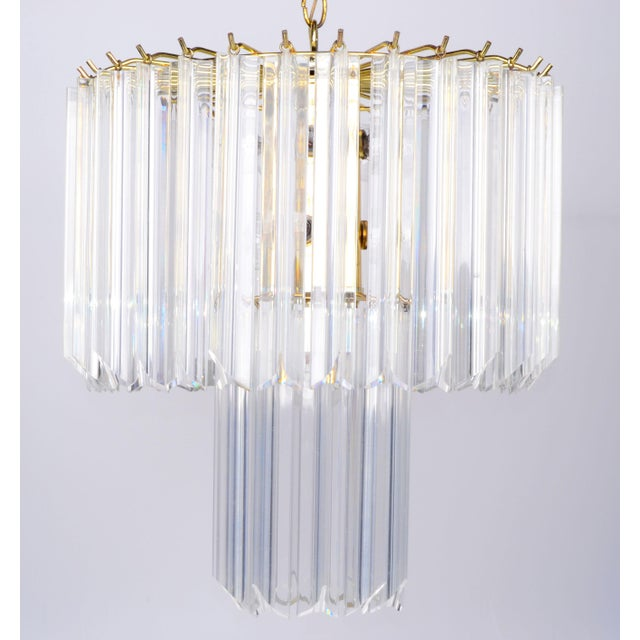 Round Two Tier Brass and Lucite Chandelier - Image 3 of 11