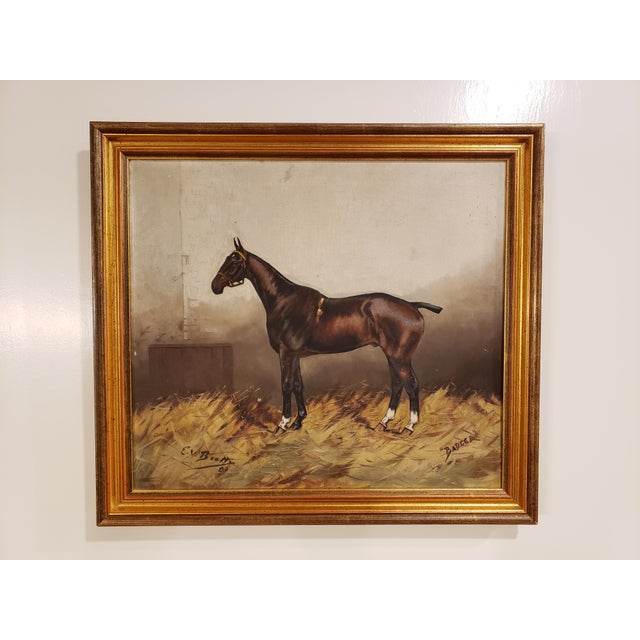 """Antique English """"Badger"""" Oil Painting on Canvas Signed E.V. Beatty For Sale - Image 10 of 10"""