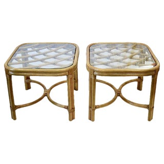 Midcentury Bent Bamboo Rattan Glass Top Tables - a Pair For Sale