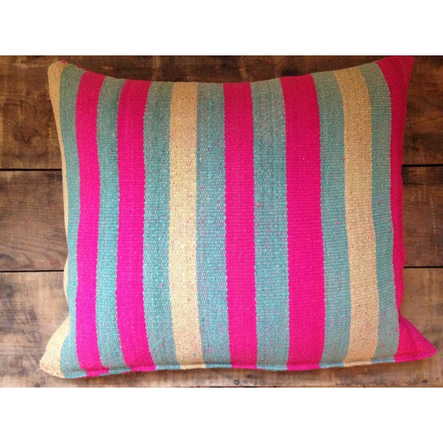 Gorgeous and unique frazada cushion in an amazing pink and blue palette. Generous in size and so cozy. Feather-down...