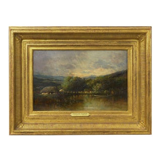 """""""Cottage on a Lake"""" Barbizon Oil Painting by Victor Dupré Circa 1850 Preview"""