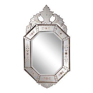 Early 20th Century Italian Octagonal Venetian Mirror With Painted Floral Etching For Sale
