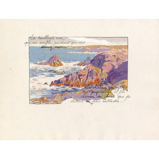 "1920 ""Rocky Shoreline Coast of France"" Pochoir Lithograph by Georges Pierre Guinegault For Sale"