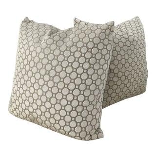 Robert Allen Velvet Geo Pillows - A Pair For Sale