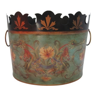 Chinoiserie Tole Cachepot with Flowers and Dragons For Sale
