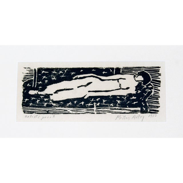 Mid-Century Modern Mid-Century Modern Framed Nude Woodcut Artist Proof Signed Milton Avery, 1950s For Sale - Image 3 of 10