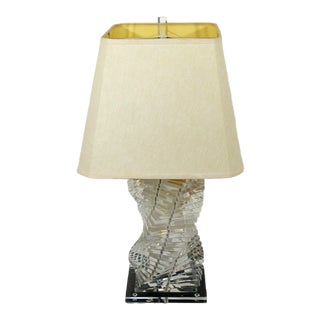 Mid Century Modern Helix Stacked Lucite Table Lamp Springer Era 70s Orig Finial For Sale