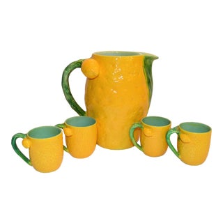 1970s Vintage Majolica Limoncello Pitcher and Cups- 5 Pieces For Sale