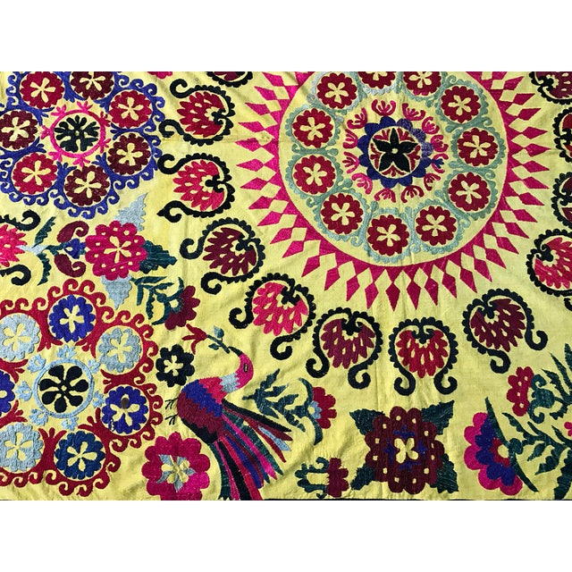 Antique Yellow Bird Pattern Suzani For Sale - Image 5 of 6