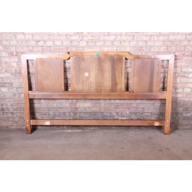 Wood Drexel Heritage Hollywood Regency Chinoiserie King Size Headboard For Sale - Image 7 of 10