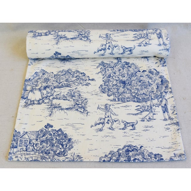 """Custom tailored 106""""L table runner created from a vintage/never used fabric depicting a blue and cream French country..."""