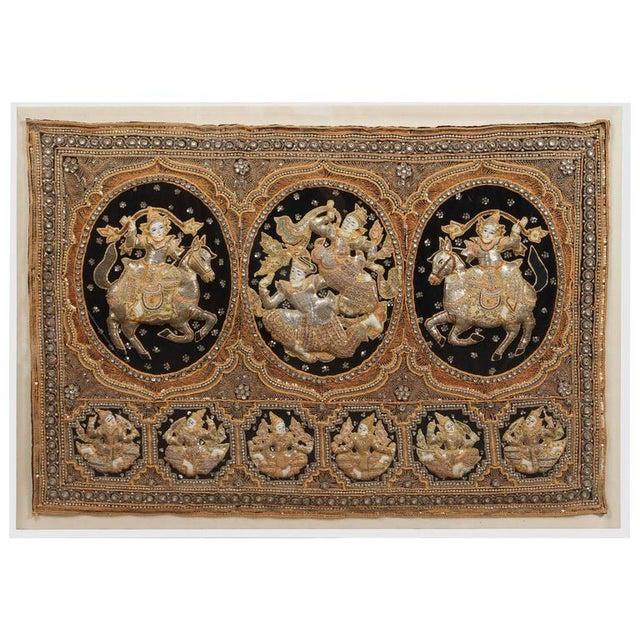 Acrylic Burmese Kalaga Tapestry Framed in Acrylic Box For Sale - Image 7 of 7