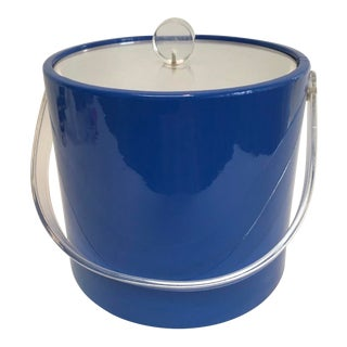 Mid-Century Bright Blue Patent Vinyl Ice Bucket With Lucite Lid For Sale